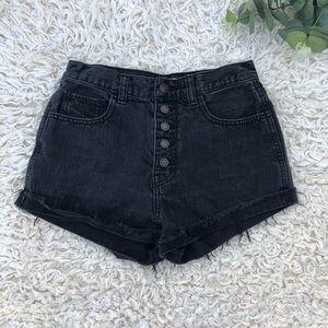 Hollister black denim high rise button fly shorts